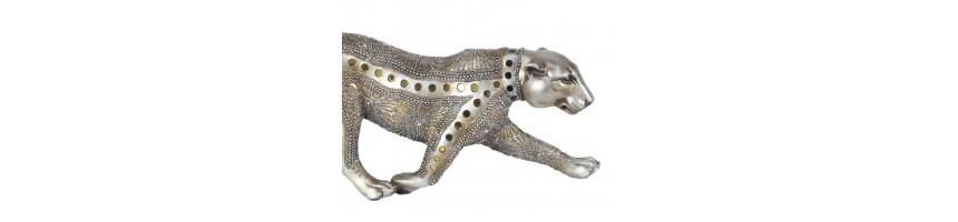 Statue Inspiration Afrique | Éléphant Panthère motif Ethnique
